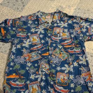 Disney tropical print button up shirt